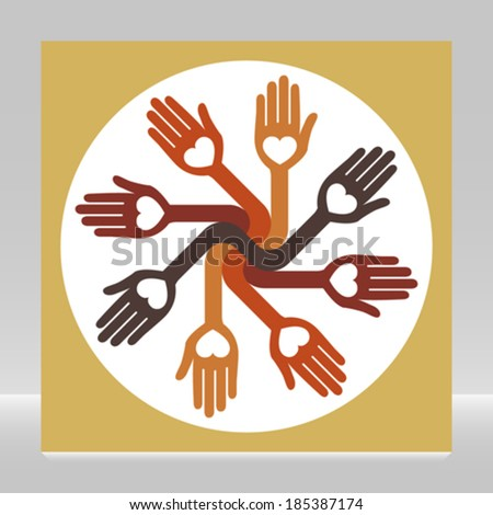 Caring loving circle of hands.