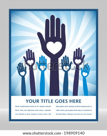 Caring loving hands design with text space.  - stock vector