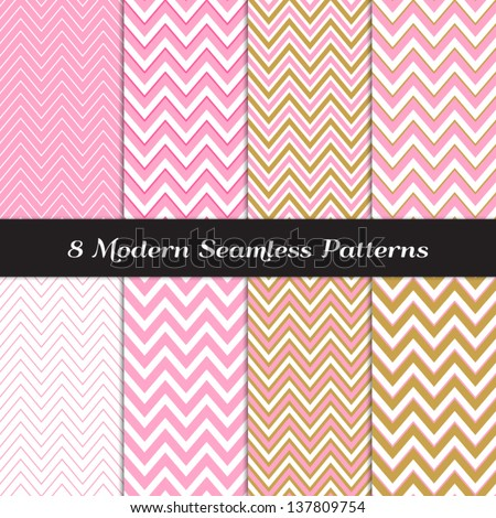 Carnation Pink, White and Gold Chevron Seamless Patterns. Pattern Swatches included and made with Global Colors - easy to change all patterns in one click. - stock vector