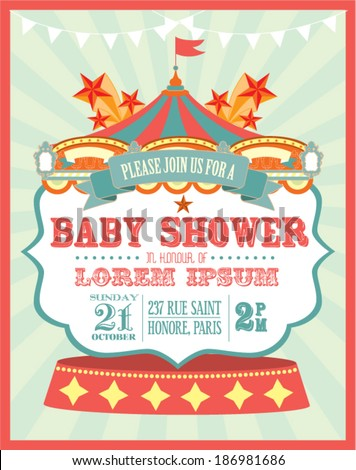 Carnival Baby Shower Invitation Card Template Stock Vector 186981686