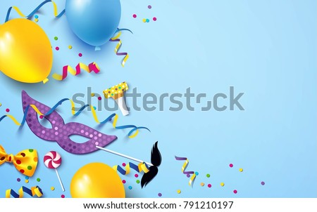 Carnival background flat lay. Carnival mask, streamers, confetti, balloons on blue background. Vector illustration