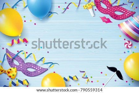 Carnival background flat lay. Carnival mask, streamers, confetti, balloons on blue wooden background. Vector illustration