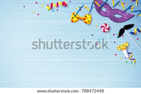 Carnival background flat lay. Carnival mask, streamers, confetti on blue wooden background. Vector illustration