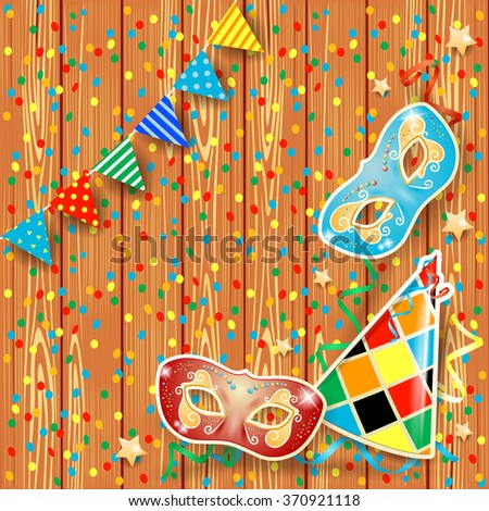 Carnival background with festoon, masks and hat. Vector illustration  - stock vector