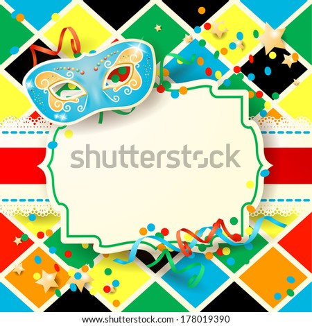Carnival background with label and mask, vector - stock vector