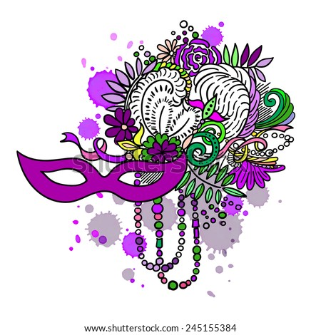 Carnival elements in vivid colors. Mask, feathers, beads, flowers. Watercolor blots and stains in background - stock vector