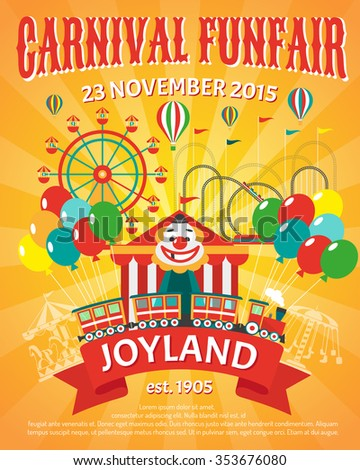 Carnival funfair promo poster with clown and party balloons vector illustration - stock vector