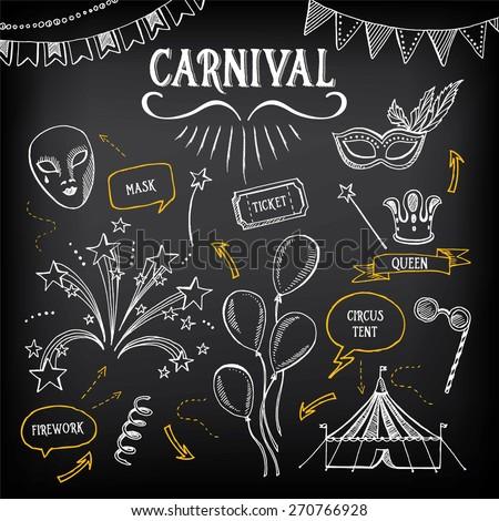 Carnival icons, sketch design. - stock vector