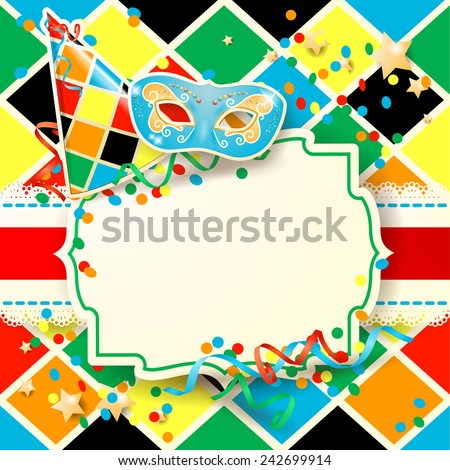 Carnival illustration with hat and mask on harlequin background, vector eps10 - stock vector