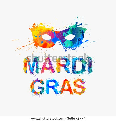 "Carnival ""mardi gras"" inscription and mask - stock vector"