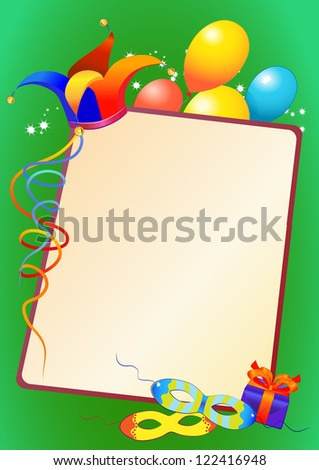 carnival mask and border with balloons and clown hat - stock vector
