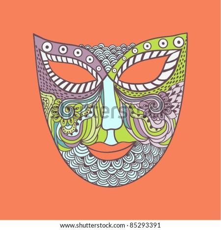 carnival mask, mask stylization - stock vector