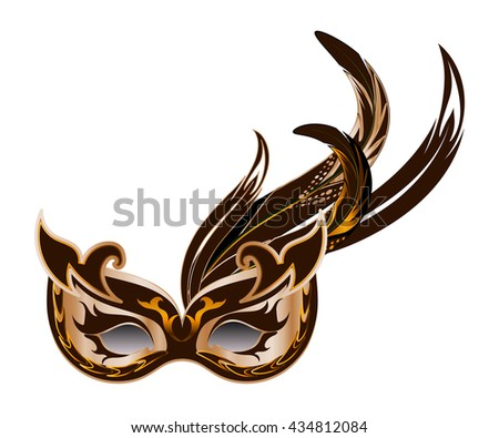Carnival mask with rooster feathers isolated on white background. - stock vector