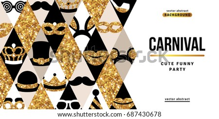 Carnival party creative gold and black banner. Vector illustration. Glittering design carnaval icons in rhombus. Concept for web and promotional banner. Funfair trendy  funny ticket design