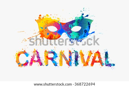 CARNIVAL. Rainbow splash paint word - stock vector