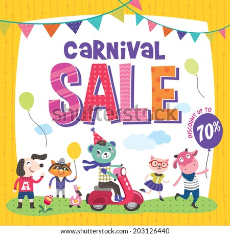 Carnival Sale  >> Carnival Sale Poster Cute Animals Stock Vector 203126440 Shutterstock