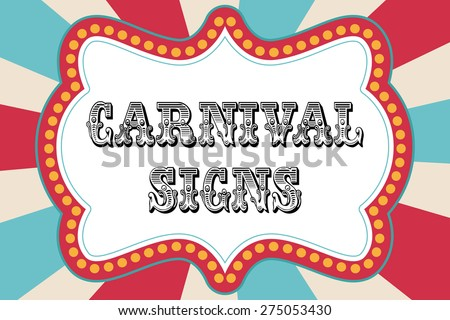 Carnival sign template with red and blue - stock vector