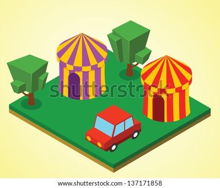 Carnival tent - stock vector