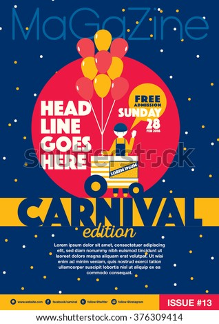 Carnival theme magazine template design invitation/ Amusement park elements info graphic poster design/ Fun fair icons/ Balloons and vendor icons Celebration and party theme card design - stock vector