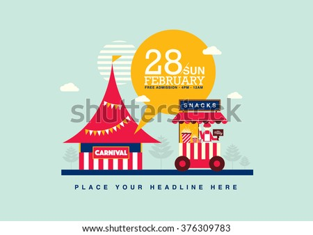 carnival theme template design invitation amusementのベクター画像