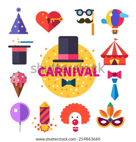 Carnival tricks, sweets and smiles. Hat, ice cream, tent, balloon, clown, mask, tie, party poppers. Vector flat icon set, badge and illustrations - stock vector