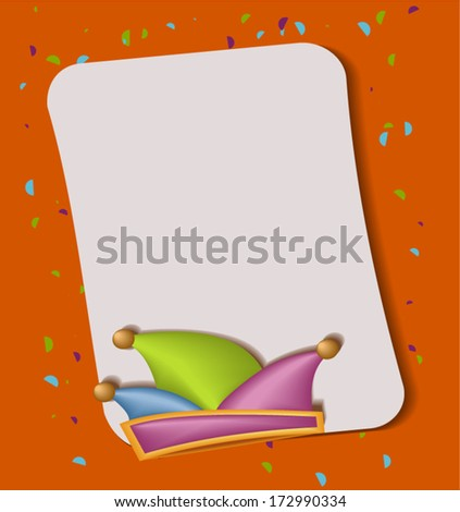 carnival vector background with fool's cap - stock vector