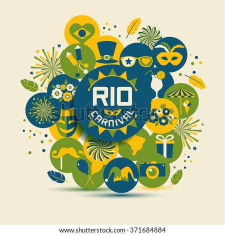 Carnival vector illustration. Rio carnival icons set. - stock vector