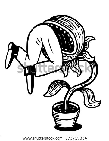 Carnivorous plant devouring a man - stock vector
