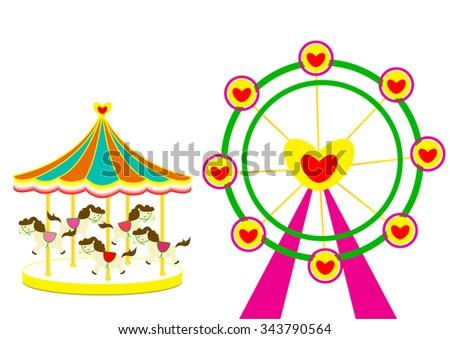 Carousel and Ferris wheel of love vector illustration on white Background  - stock vector