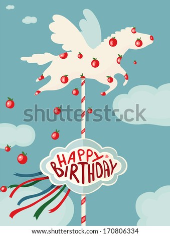 Carousel Horse and Apples Happy Birthday Card. Birthday merry go round horse. Vector drawing EPS8. - stock vector