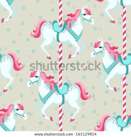 Carousel horses. Children seamless vector background - stock vector