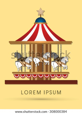 Carousel horses, graphic vector. - stock vector