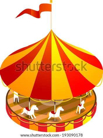 Carousel in vector. Isometric view. EPS 10 - stock vector