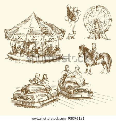 carousel - merry go round - hand drawn collection - stock vector