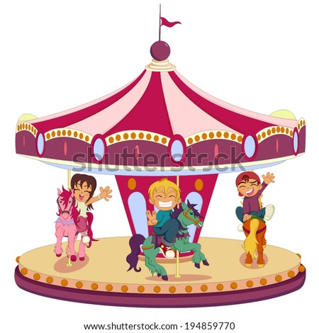 Carousel ride and happy kids - stock vector