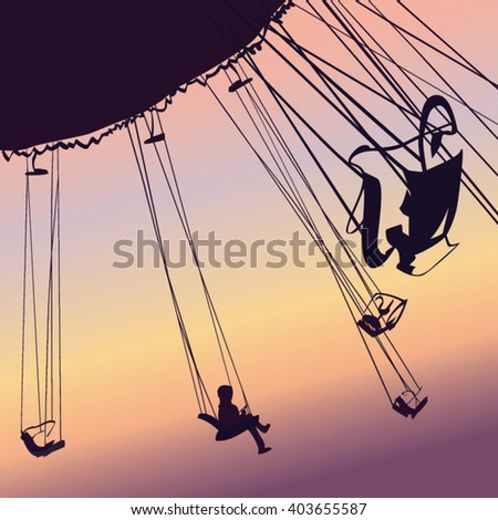 Carousel ride silhouette.Vector illustration.