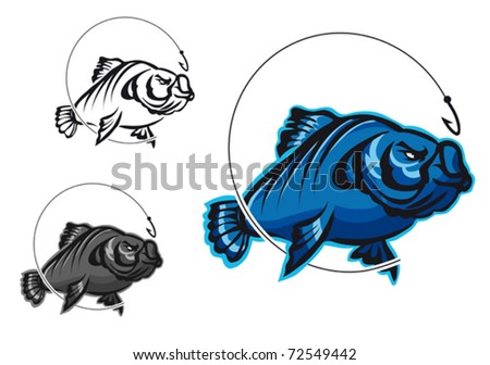 Carp fish as a fishing symbol isolated on white. Jpeg version also available in gallery - stock vector