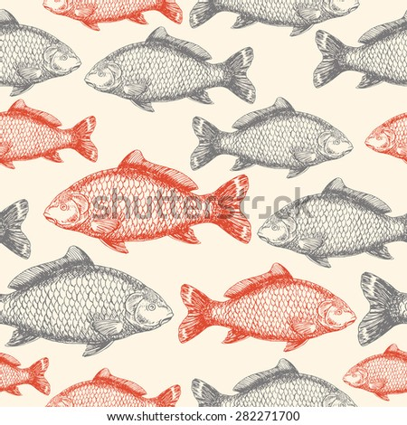 stock vector carp fish asian style seamless pattern vector illustration 282271700 - Каталог — Фотообои «Еда, фрукты, для кухни»