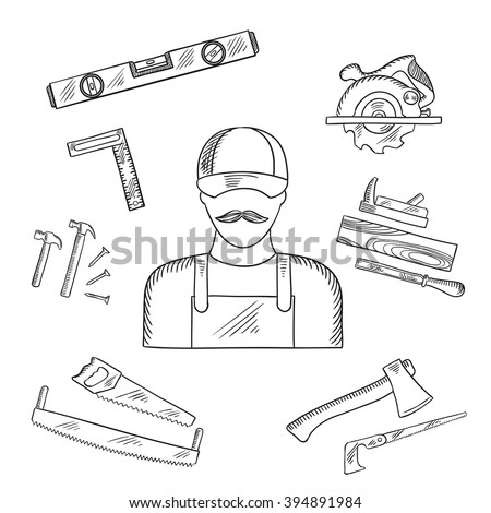 Carpenter and toolbox tools sketches with hammer, file, axe, nails, handsaw, hacksaw, ruler, plane and measuring level - stock vector