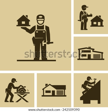 Carpenter Builder Vector Icon Figure Pictogram  - stock vector