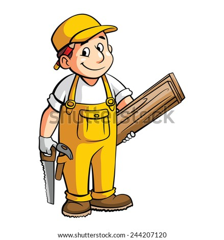 Carpenter Cartoon Illustration - stock vector