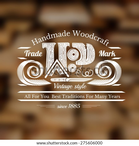 carpenter craft style background with knife for carving wood word shavings and place for text middle on old stack of plank blur photo - stock vector