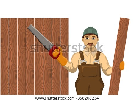 Carpenter holds a plaque and are ready to cut - stock vector