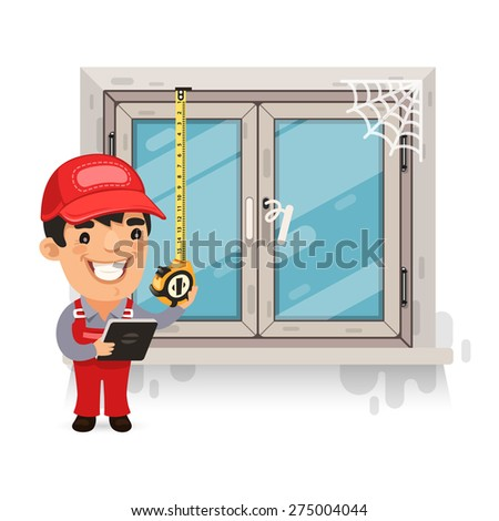 Carpenter Measures the Old Window. Isolated on white background. - stock vector