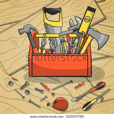Carpenter toolbox with screwdriver hammer handsaw wrench and scattered instruments on a wooden background vector illustration - stock vector