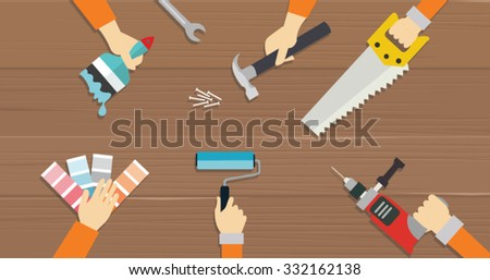 carpenter tools construction tool repair hands saw screw driver flat illustration vector - stock vector