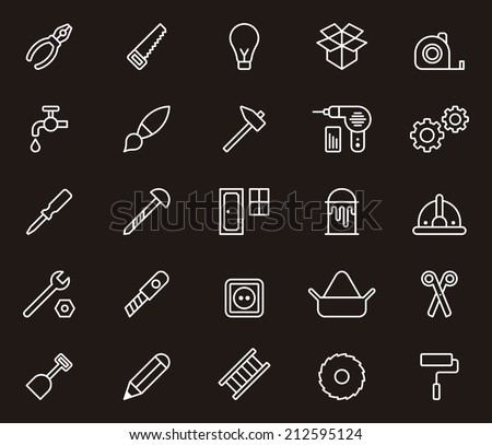 Carpenter tools icons - stock vector