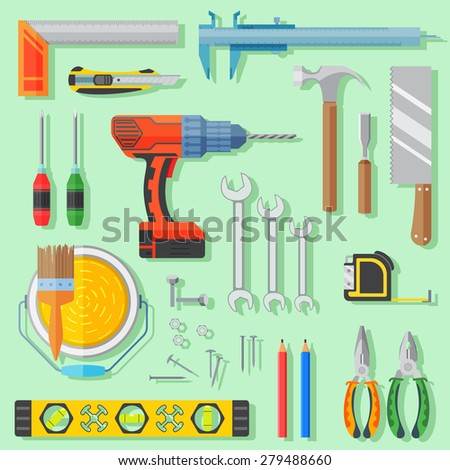 carpenter tools set use to renovation and construction. top view of flat design vector illustration.