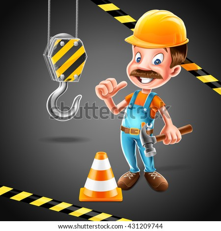 carpenter with mustache - stock vector