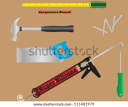 Carpenters Tools A Tape Measure,Pencil,Claw Hammer, Saw,Screwdriver,Silicone Gun and Wood-screws on a wood background